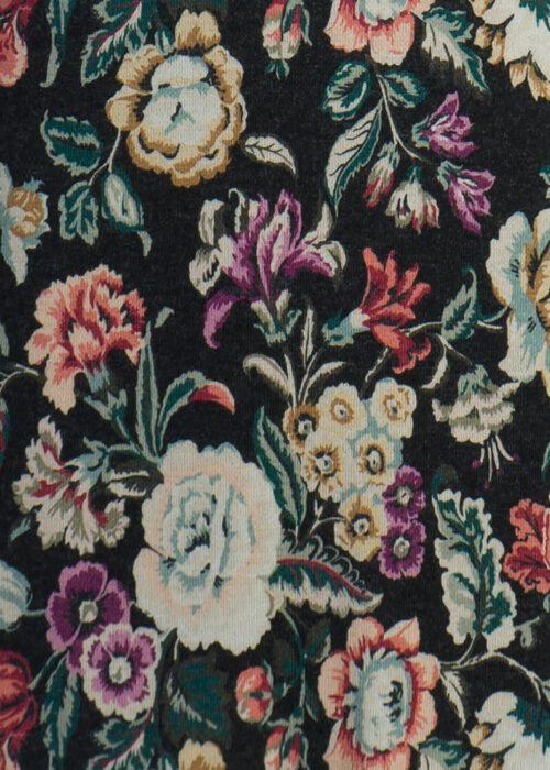 Birgit Nehls Strickstoff mit schwarzem Blumenmuster