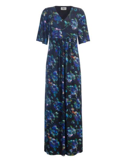 Langes Tunikakleid mit Blumenprint blau