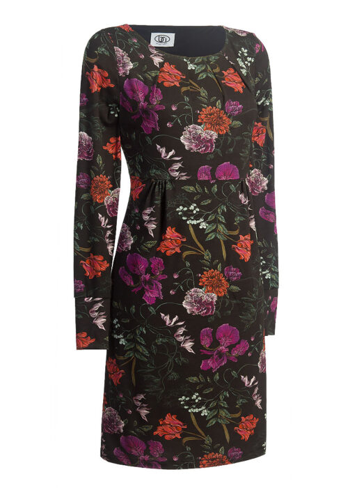 schwarzes Jerseykleid mit roten und lila Blumen